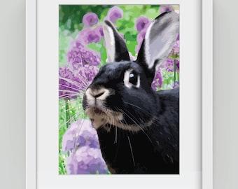 Bunny amongst the Allium, Giclée art print