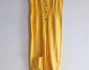 1980's Yellow Jumpsuit/ Romper  90s Romper/ 90s Jumpsuit Playsuit, Flight suit or Painters Jumper Women's size Small