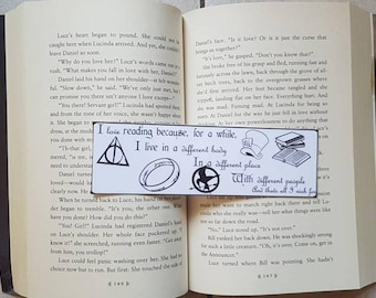 I love reading because... Bookmark Quote. Laminated bookmark.
