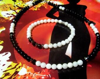 Bijoux homme parure COLLIER & BRACELET yin yang Perles nacre blanc, Pierre Onyx noir, Mala Yoga boho, cristaux Guérison, cadeau homme/femme