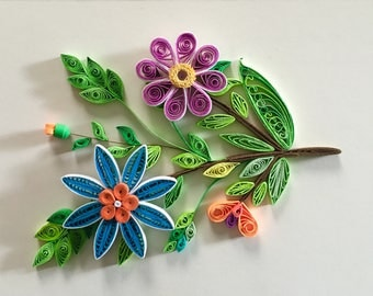 Flower Design 6: Handmade Quilling Art gift-Wall Art Picture-House Warming Gift-Special Flower Design-Gift For Occasions