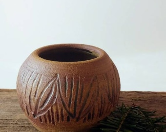 Small Pottery Bowl | Unique Carved Bowl, Pottery Votive, Handmade Tiny Bowl, Unique Bowl, Rustic Pottery, gift for her, Valentine's day gift