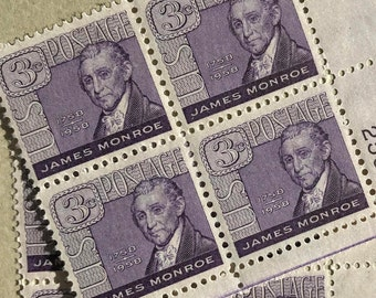 8 Unused Vintage James Monroe US Postage Stamps 3 cents Scott 1105