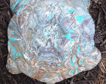 Hand-Painted Earthy Turquoise Turtle Garden Stone