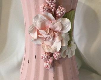 Shabby chic pink vase