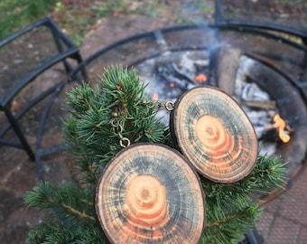Rustic Tye-Dye Spalted White Pine Wooden Earrings, Wood Cookie Earrings, Boho Earrings, Tree Slice Earrings