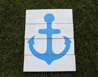 Reclaimed Pallet Blue Anchor Sign