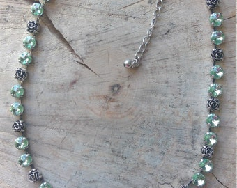 Chrysolite & White Opal Rhinestone Necklace with Rose elements