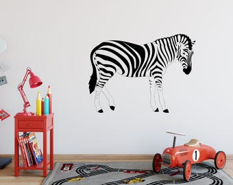 Zebra Wall Decal , Zebra Stickers, Bedroom Decor, Childu0027s Room Decor