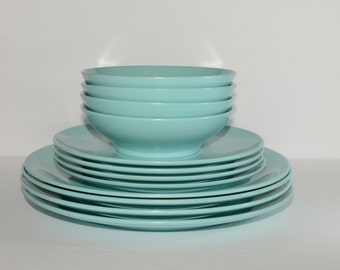 Vintage, MELMAC, Set Dessert Bowls, Bread Plates and Dinner Plates, Turquoise, Melamine, Hard Plastic, Made in Canada, Plastomer LTD, 12 mcx