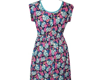 Blue, pink and green floral on dark blue dress