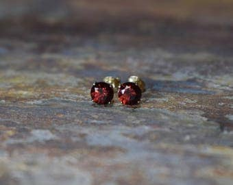 6mm Red Garnet & 14k Gold Fill Stud Earrings, Mozambique Garnet, Garnet Jewelry, Gemstone Earrings, Wife Gift