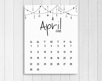 print april 2018 calendar