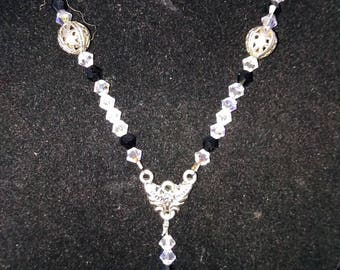 Dainty Swarovski Crystal Necklace with Rose Colored Drop