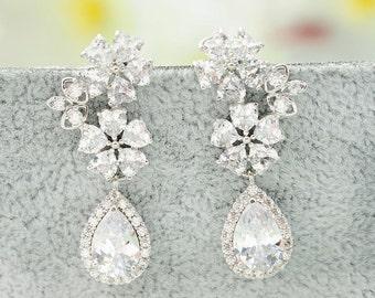 Bridal Earrings Wedding Earrings Bridal Chandelier Earrings Silver Zircon Earrings Swarovski Crystal Earrings