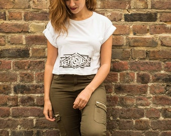LABYRINTH   Organic cotton rolled sleeves crop top, screen-printed by hand to support refugees on Lesbos