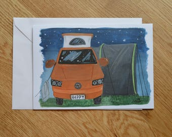 A5 landscape camper greetings card