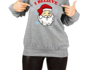 Funny Christmas Sweater Santa Claus Xmas Gifts For Her Holiday Present Christmas Jumper X-Mas Off The Shoulder Slouchy Sweatshirt TEP-510