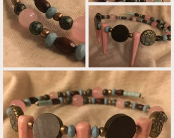 Cultured Wrap Chokers - Hand-Beaded Coil Choker Necklaces - Stone Beads - Wood and Metallics - Romantic Memory Wire Chokers