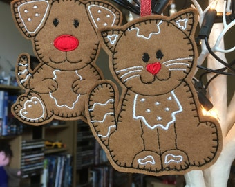Felt Gingerbread Pets (single)