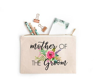 Mother of the groom cosmetic bag, Mother of the groom floral makeup bag, Mother of the groom gift, Floral Cosmetic Bag, Floral Makeup Bag