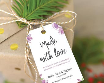 Violet Floral Personalized Wedding Favors Tags Printable (Size M), Wedding Tags Template, Watercolor gift tags, Editable Wedding favors Tags
