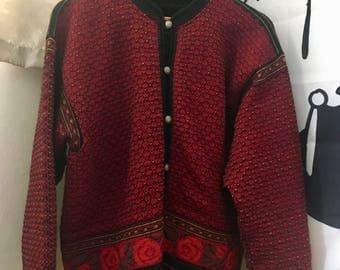 Vintage Dale of Norway Cardigan Norwegian Wool