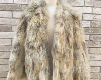 Vintage 80's Ivory/Light Brown Fox Fur Coat Size Medium