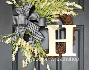 Farmhouse Wreath,Front Door Wreath,Grapevine Wreath,Rustic Wreath,Summer Wreath,Spring Wreath,Cream Flowers Wreath,Mother's Day,Wreaths