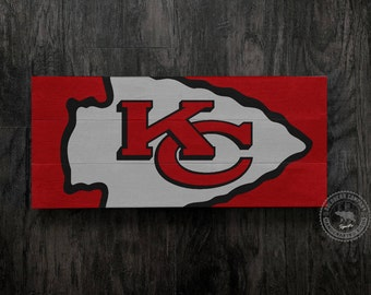 Kansas City Chiefs 3-Planked Distressed Sign, Kansas City, Chiefs, Wall Sign