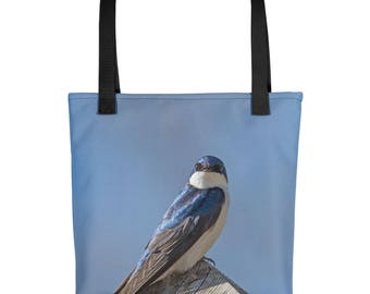 Bird Tote Bag, Nature Lover Gift, Washable Fabric Unique Stylish Spring Handmade Handbag Beautiful Overnight, Tree Swallow, Great Blue Heron