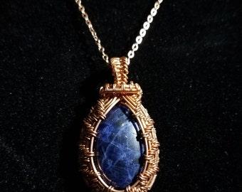 Copper woven sodalite pendant, sodalite pendant, gemstone necklace, sodalite, copper necklace, wirework necklace, wire wrap pendant