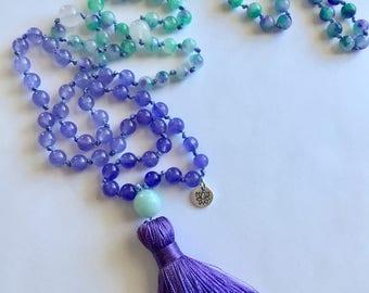 108 prayer bead mala, mala beads, meditation, Buddhist mala, beaded necklace, lotus. 6mm beads