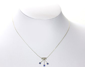 Delicate Vintage White Metal Siler Colored Blue Rhinestone Pendant Necklace with Clasp