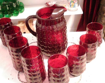 Anchor Hocking Bubble 64 oz pitcher with 8 glasses