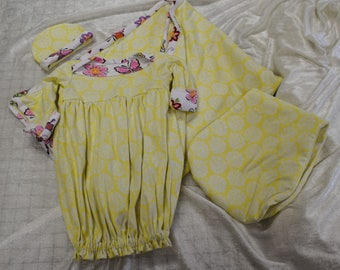Springy Yellow baby girl layette, can personalize