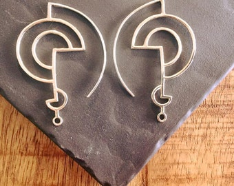 Golden Spirit 925 Silver Maze Sacred Geometric Earrings  #BP028