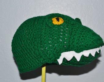 Half Price & Ready to Ship! Crochet Tyrannosaurus Rex Hat - Dinosaur Hat in Bright Green with Yellow Eyes - Cartoon Halloween Costume Hat
