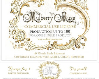 Mulberry Muse commercial use license, Production up to 100 units, digital download file, credit required