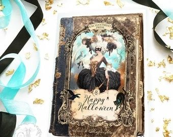 Halloween card, Marie Antoinette masquerade, Halloween witch, spell book, holiday card