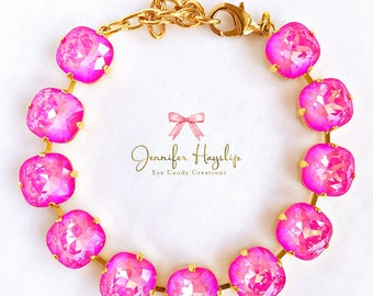Ultra Pink AB 12mm Cushion Cut Swarovski Crystal Statment Bracelet LOADS of *SPARKLE*