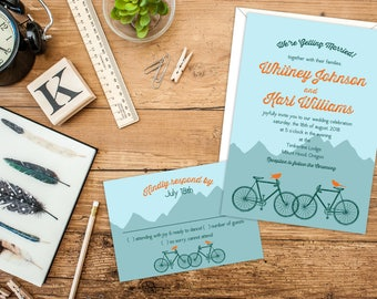 Vintage Birds Bikes and Mountains Wedding or Elopement Party Invitations, RSVP Cards or Post Cards, Vintage Typography