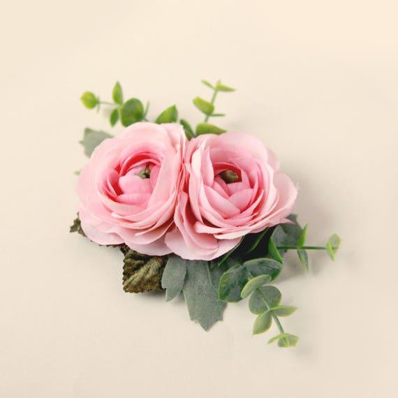 PINK or WHITE ranunculus hair clip, Flower hair clip, Bridal flower clip, Eucalyptus and ranunculus, Bridal floral clip, Wedding flower hair