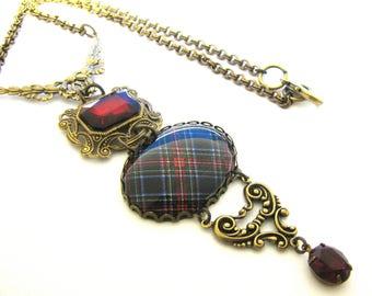 Scottish and Irish Tartan Jewelry - Stewart Black Tartan Ornate Filigree Floral Swag Bail Necklace w/Siam Red Czech Glass Gems