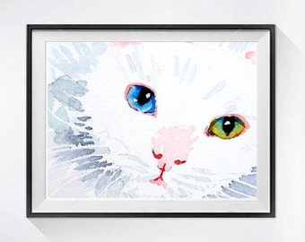 Cat Artwork, White Cat, Art Print, Valentines's day Sale, Kitty, kitten, Cat Art print, Watercolour painting, wall art, Cat illustration,