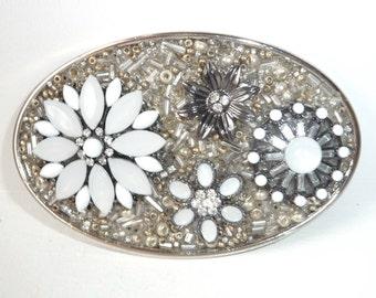 Flower Belt Buckles - Womens Belt Buckles - Rhinestone Buckles - Gray Belt Buckles - Neutral Colors - Silver Belt Buckles- Woman's Gift Idea
