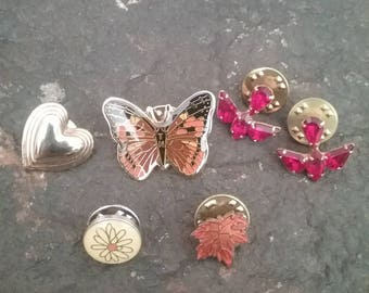 Six Lapel Pin Lot, Vintage Lapel Pin Lot, Pin Lot, Vintage Jewelry Lot, Butterfly Pin, Heart Pin, Rhinestone Pin, Bird Pin, Vintage Pin Lot