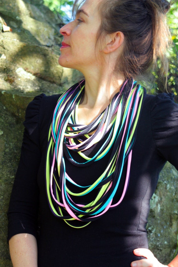 Roll Up - MULTISTRAND, multicolor pink-yellow-black lycra fabric scarf necklace. Licorice color