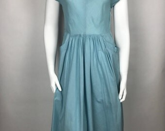 Vintage 50s Sky Blue Cotton Day Dress Bea Young Junior