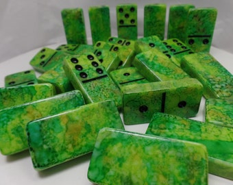 Dominoes 'I Wanna Iguana' Hand Painted 28 Piece Deluxe Professional Size Double Six Domino Set in veneer case with latch, alcohol inks green